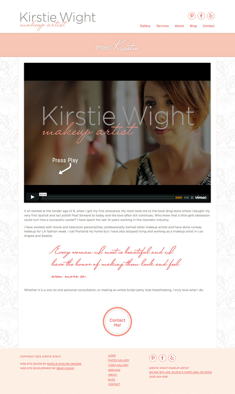 kirstie wight makeup artist portland website design