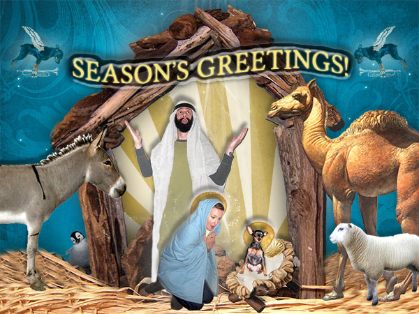 nativity scene, tacky holiday photo