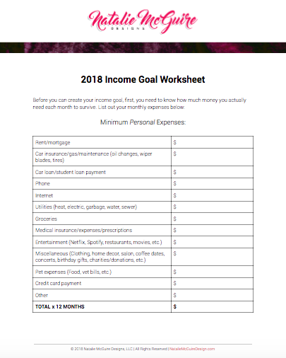 2018 Income Goal Worksheet for Graphic Designers